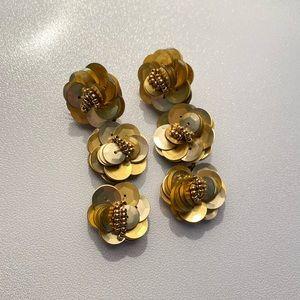 J.Crew Sequin Flower Drop Earrings